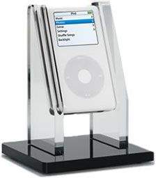 MP3 Display Holder for iPod touch/nano. This design is not so common in stores. It's made of thick clear and black acrylic. The products must be so weighty and high quality.