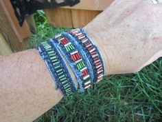 Bracelet - Hand-Beaded, Recycled Denim - Red and Silver