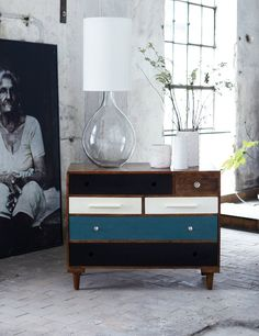 This is the big brother of our very popular Mixed Up Side Table. This unique Chest of Drawers is made of solid wood. It comes with six drawers finished three different colours, with eclectic range of handles. We love it. Please note that we import these lovely chests from Denmark and they can take up to 6 weeks to be delivered.