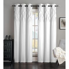 Avondale Manor Ella Polyester Mircofiber Curtain Panel by Avondale Manor in White - my master bedroom curtains *M* Unique Curtains, Lined Curtains, House Blinds, Blinds For Windows, Bay Windows, Window Blinds, Large Windows, Window Coverings, Window Treatments