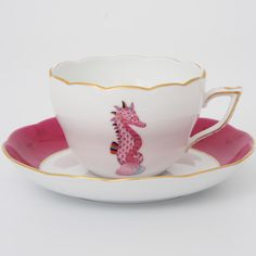 Raspberry Seahorse Cup & Saucer by Herend - What are Marie's favorite things???? Pink and Nautical....