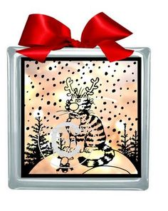 Christmas Cat and Mouse Glass Block Tile Design 6x6 inches on Craftsuprint designed by Tina Fallon - Christmas Cat and Mouse Designed with Glass blocks in mind and for cutting from vinyl, but can also be cut from card and used on other projects - Now available for download!