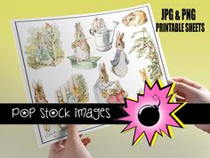 Peter Rabbit Printable Sticker Sheet  - $1.50    This pastel-colored printable sticker sheet of Peter Rabbit's adventures is sure to bring back childhood memories. From jumping in the watering can to losing his little blue jacket -- his antics are captured for you in these printable sticker sheets.