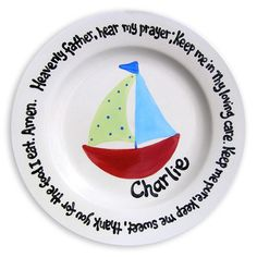 Godparent Gift - Personalized Baptism Gift - Bless the Food Before Us - Christian Gift - Nautical Boy - Godparent Gift - Say Grace Plate - Baby Baptism Gifts, Christening Gifts, Godparent Gifts, Personalized Gifts, Birthday Plate, Bless The Food, Baby Dedication, Christian Gifts, Christian Quotes