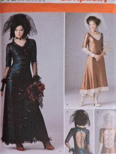 Items similar to Steampunk Goth Wedding Bridal Dress Gown Veils Edwardian Victorian Simplicity 1772 Pattern Sz. 4 - 12 on Etsy Short Veil, Renaissance Dresses, Costume Patterns, Stretch Lace, Veils, Vintage Tops, Pattern Fashion, Stage Play, Bridal Dresses