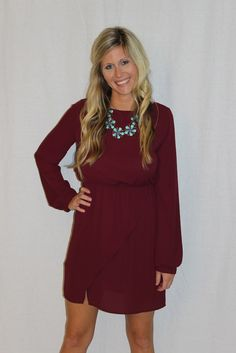 EVERLY: Wine Long Sleeve Dress