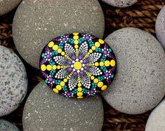 2.5x2.2 inch Hand painted mandala on river rock/mandala stone by Katy