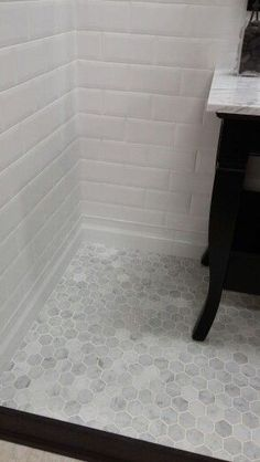 "carrera hexegon 4"" white tile walls - Google Search"