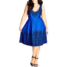 City Chic Border Flocked Fit & Flare Dress (Plus Size) ($89) ❤ liked on Polyvore featuring dresses, floral dresses, vintage dresses, blue fit and flare dress, skater skirt and plus size fit and flare dress