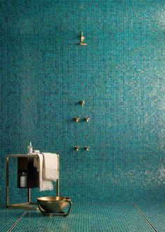 turquoise tile shower with brass hardware