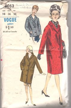 Vogue 6052 1960s Misses CHESTERFIELD COAT Jacket by mbchills