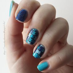 #puzzle #nail #nailart #blue #zoya #picturepolish