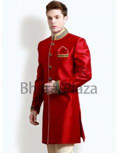 Buy Red Indo Western Coat online. http://www.bharatplaza.com/mens-wear/mens-indo-western.html