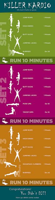 Excellent circuit workout - a hybrid of running and Insanity-style drills.  From Fantasmo