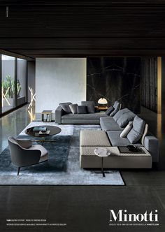 """Loving the """"dark...moody"""" interiors as opposed to the """"light and airy"""" that everyone loves Yang seating system, Rodolfo Dordoni Design."""