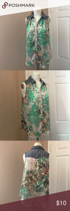 Xhilaration Tank Gently worn, good condition. Silk chamberay top. Button down. Loose fit with collar. Perfect for spring. Xhilaration Tops Tank Tops