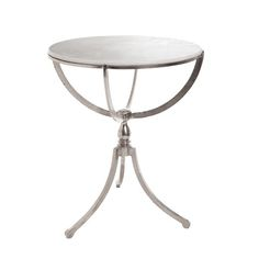 GO Home Art Deco Nickel Round Table With Marble Top.