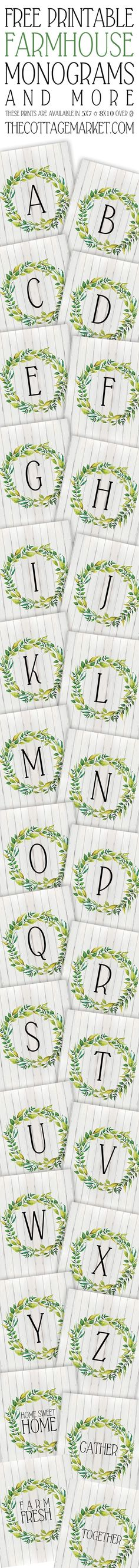 Free Printable Farmhouse Monograms and More
