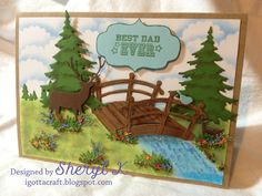 Father's Day card using Unity Stamp Company stamps, Memory Box, Cottage Cutz Bridge, Flower Soft, and Stickles.