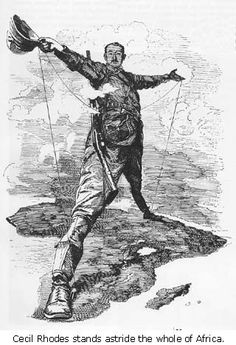 The Rhodes Colossus, an 1892 caricature of Cecil Rhodes after announcing plans for a telegraph line from Cape Town to Cairo. For Punch by Edward Linley Sambourne.
