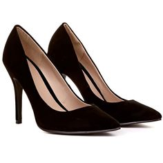 Sicily Suede Court Shoe in Black Suede ($37) ❤ liked on Polyvore featuring shoes, pumps, heels, sapatos, black suede, black pumps, black pointy pumps, black suede pumps, pointed pumps and black pointy shoes