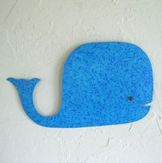 "Custom Made Handmade Upcycled Metal Whale Wall Art Sculpture In Aqua Blue ""Milo'' 13"" x 8"". Cut, filed, and hammered salvaged metal.  Painted with several coats of acrylic paint. Glass piece for eye, heated in kiln. Mount with attached hook on back. Cute decoration for bathroom, beach house, kid's bedroom"