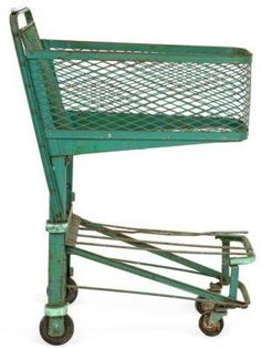 Vintage Steel Grocery Store Cart.  Great idea for party supplies and/or a bar cart.
