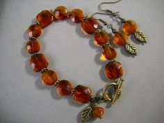 Vintage Amber Bracelet and Earring Set by Beads4You2008 on Etsy