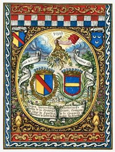 Arms of Jean d'Escoubleau, comte de la Chapelle, seigneur de Sourdis and his wife Antoinette de Brives, along with those of Tusseau. Watercolour after a tapestry, 17th-18th century, French