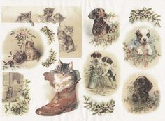 Rice Paper for Decoupage Decopatch Scrapbook Craft Sheet Vintage Winter Cats