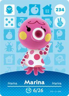 Marina - Nintendo Animal Crossing Happy Home Designer Amiibo Card - 234 Animal Crossing Amiibo Cards, Animal Crossing Villagers, New Animal Crossing, Acnl Villagers, Nintendo 3ds, Ac New Leaf, Pokemon, Happy Home Designer, Home