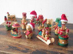Set of 11 Vintage Wood Christmas Tree Decors by FoxBoxMarket