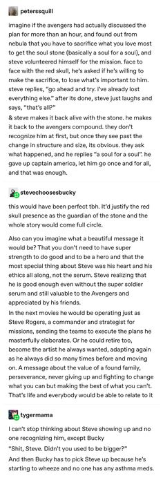 This would have sent a beautiful message, and it would have made Steve and Bucky's story much more complete, fulfilling, and give respect to their relationship throughout the MCU. It always would have spared my Stucky heart unlike sOME PLOT LINES. Avengers Memes, Marvel Memes, Marvel Avengers, Marvel Funny, Marvel Dc Comics, Chris Evans, Bon Film, Adventure Time, Fandoms