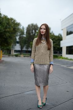 <3 M Loves M styles our bebe sequin skirt with a chunky sweater