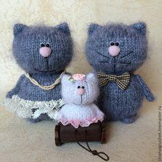 Купить Семейка кисок. - коты и кошки, вязаная игрушка, вязаные коты, котенок, свадебные коты