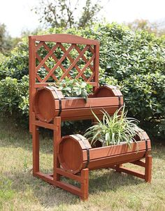 Plant Stand Flower Pot Wood Garden Decor Outdoor Barrel Planter 2 Tier Display #ConvenienceConcepts