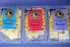 Rising Moon Organics Raviolis: Garlic & Roasted Veggies, Mediterranean Garlic & Herb, Creamy Artichoke & Olive.