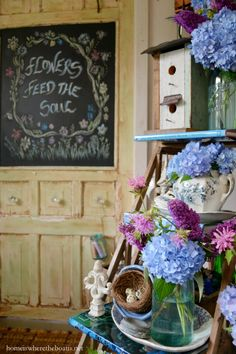 'Flowers Feed the Soul' Chalkboard Door and Ball Jar Bouquets #pottingshed | homeiswheretheboatis.net