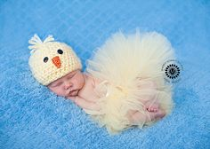 Newborn baby girl chick hat set Easter outfit tutu yellow photography prop beanie crochet spring on Etsy, $45.00
