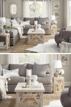 I love this beautiful gray cottage style living room...so pretty! #ad #gray #livingroom #livingroomideas #livingroomdecor #homedecor #homedecorideas #homedecoration #wayfair