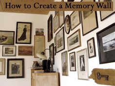 Memory walls display pictures and artifacts of family & friends and memories of good times. This article will list some steps to create your memory wall. Cohesive ElementThe most elegant and sophisticated memory walls contain photos and ke. Memory Wand, Picture Wall, Picture Frames, Picture Collages, Stairway Gallery Wall, Vintage Family Photos, Hanging Pictures, Display Pictures, H & M Home