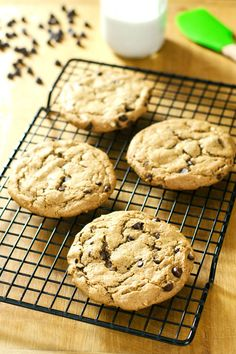 These chunky almond butter chocolate chip cookies are gluten-free, grain-free, and dairy-free with just 5 ingredients. A perfect quick dessert recipe. ~ http://cookeatpaleo.com