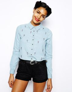 River Island Chelsea Girl Embellished Boxy Denim Shirt