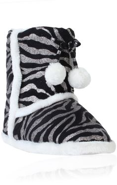 glitter #zebra print bootie slipper with pom poms, I have the same ones but in pink:D