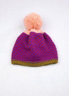 Gemusterte Pom Pom Beanie Lila & rot Speckle 100 % Peruanische Highland wolle Sag Hallo zu den neuen Winter-Hut! Entworfen und Hand