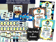 SALE Miles from Tomorrowland Birthday Party Package with invitation, Outer Space, instant download, DIY, printable party decorations, pac by EasyPartyPrintables on Etsy