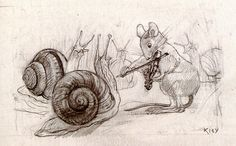 A mouse playing violin for two mice by Heinrich Kley
