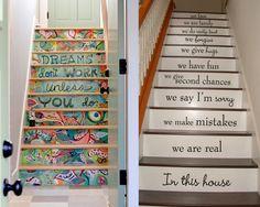 Achados da Mila: Escadas decoradas com adesivo