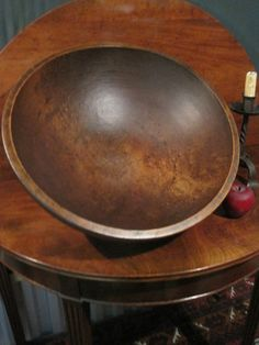 "Antique 1800's New England Hand Turned BIRD""S EYE MAPLE Massive Dough Bowl For Sale  North Bayshore Antiques"