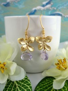 Gold orchid pink amethyst earrings by KBlossoms on Etsy, $35.00